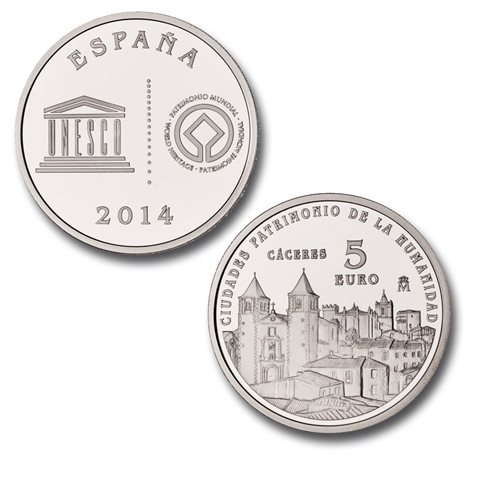 2014. Patrimonio Humanidad. Cáceres. 5 euros