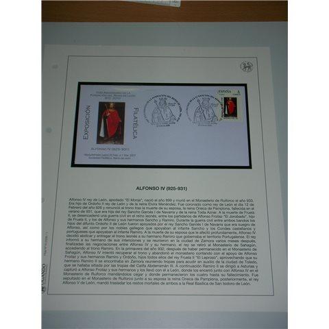 2008. Hoja y sobre matasellos Alfonso IV