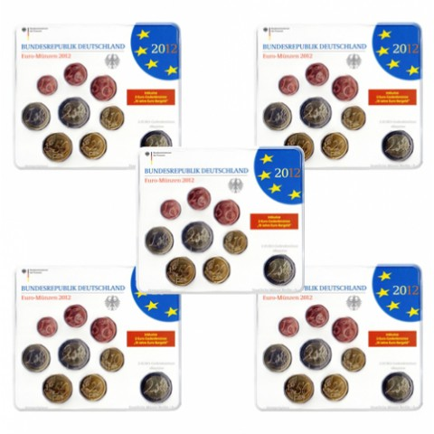 2012. Cartera euros Alemania (5 cecas)