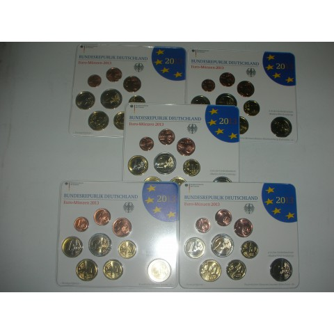 2013. Cartera euros Alemania (5 cecas)