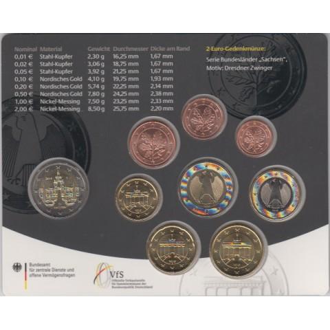 2016. Cartera euros Alemania (5 cecas)