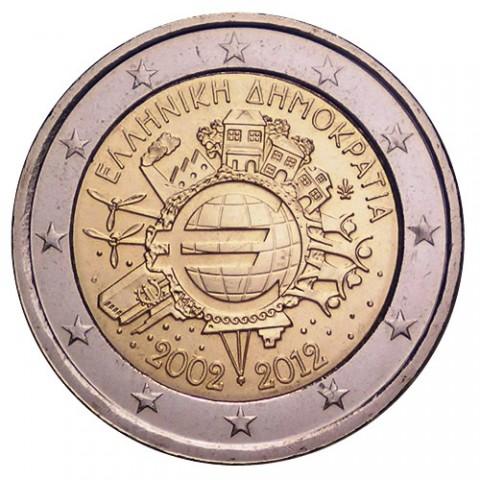"""2012. 2 Euros Grecia """"X Aniversario"""""""