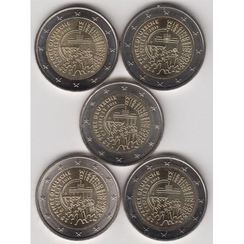 """2015. 2 Euros Alemania """"Reunificación"""" 5 cecas"""