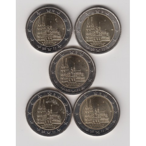 "2011. 2 Euros Alemania ""Renania"" 5 cecas"