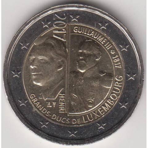 """2017. 2 Euros Luxemburgo """"Guillermo III"""""""