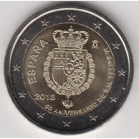 """2018. 2 Euros España """"50 Aniversario Rey"""""""