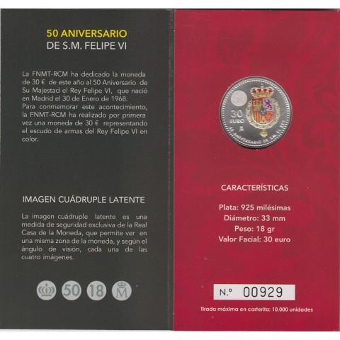 """2018. Cartera 30 euros España """"50 Aniversario Rey"""""""