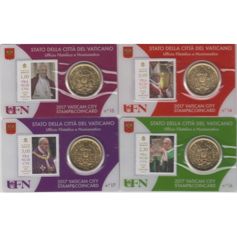 2017. Stamp&Coin Card Vaticano nº14-17