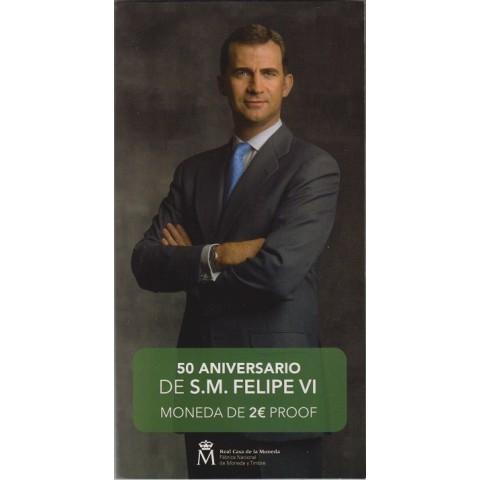 """2018. 2 Euros España """"50 Aniversario Rey"""" proof"""
