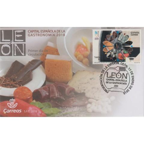 2018. Sobre matasellos Capital Gastronomía León. Presentación