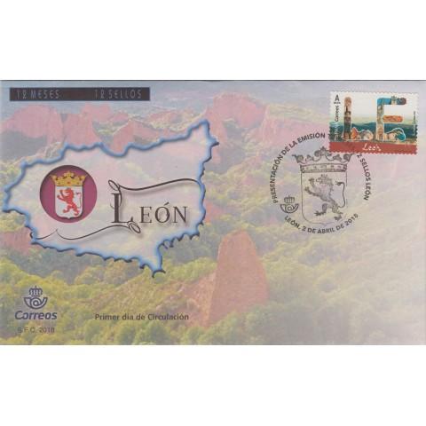 2018. Sobre matasellos León, 12 meses 12 sellos. Presentación
