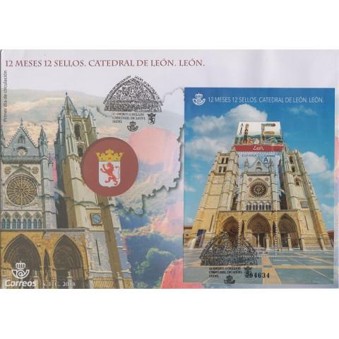 2018. Sobre matasellos León, 12 meses 12 sellos. Catedral. Primer Día