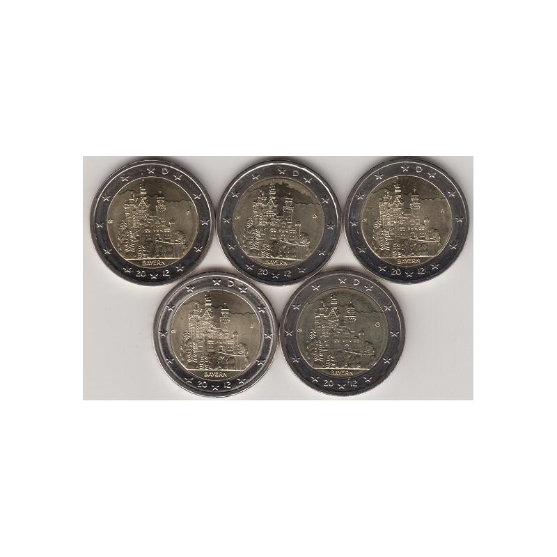 "2012. 2 Euros Alemania ""Baviera"" 5 cecas"