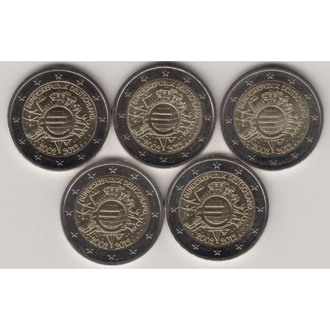 """2012. 2 Euros Alemania """"X Aniversario"""" 5 cecas"""