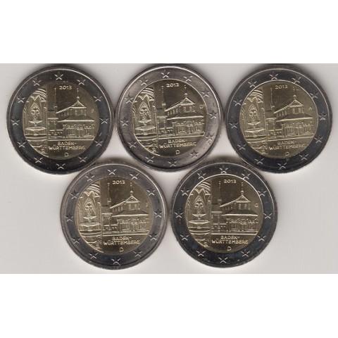 """2013. 2 Euros Alemania """"Baden Wüttemberg"""" 5 cecas"""
