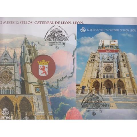 2018. Sobre Matasellos León, 12 meses 12 sellos. Catedral. Presentación