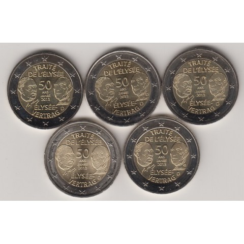 """2013. 2 Euros Alemania """"Tratado Eliseo"""" 5 cecas"""