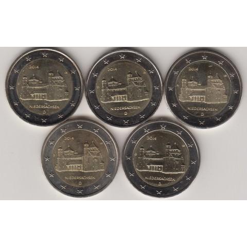 """2014. 2 Euros Alemania """"Baja Sajonia"""" 5 cecas"""