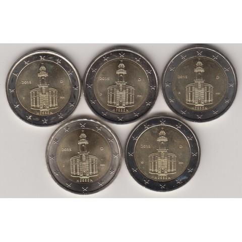 """2015. 2 Euros Alemania """"Hessen"""" 5 cecas"""
