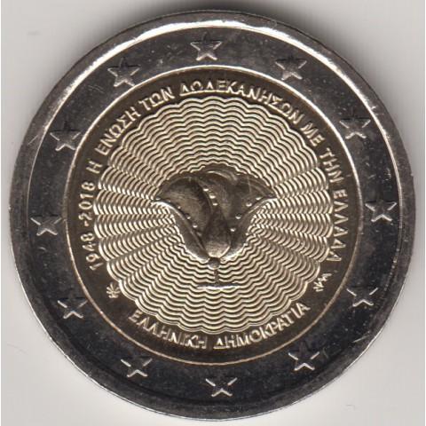 """2018. 2 Euros Grecia """"Dodecaneso"""""""
