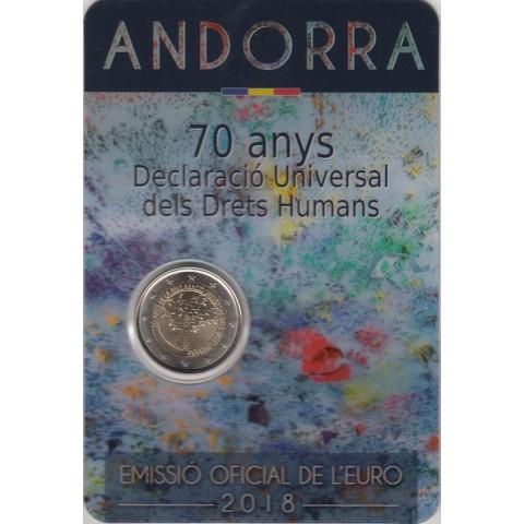 """2018. 2 Euros Andorra """"Derechos Humanos"""""""