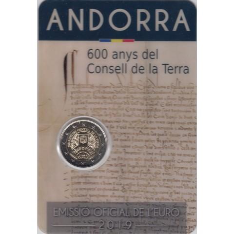 """2019. 2 Euros Andorra """"Consell Terra"""""""