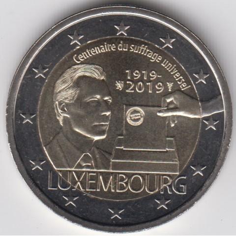"""2019. 2 Euros Luxemburgo """"Sufragio"""""""