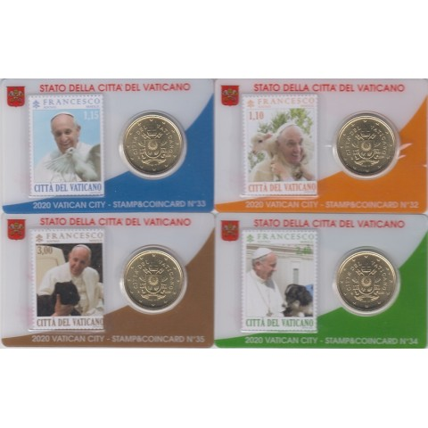 2020. Stamp&Coin Card Vaticano nº32-35