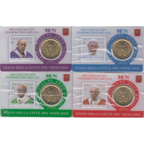 2019. Stamp&Coin Card Vaticano nº22-25