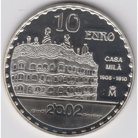 "2002. Año Internacional Gaudí. 10 euros ""Casa Mila"""