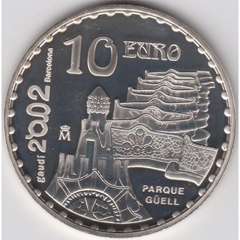 "2002. Año Internacional Gaudí. 10 euros ""Parque Güell"""