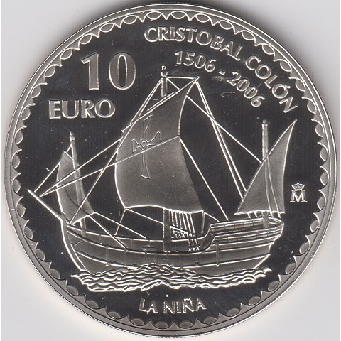 """2006. Cristóbal Colón. 10 euros """"La Niña"""""""