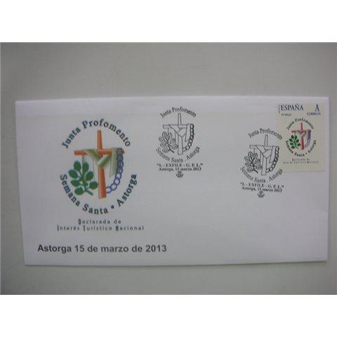 2013. Sobre matasellos Semana Santa Astorga