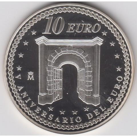 """2007. V Aniversario euro. 10 euros """"Cooperación"""""""
