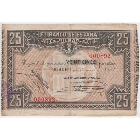 1937. 25 Ptas Banco España (Bilbao)