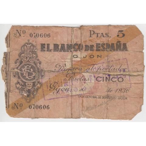 1936. 5 Ptas Banco España (Gijón)