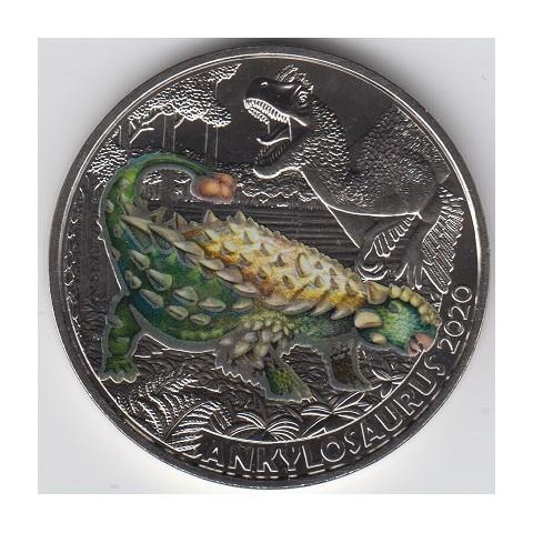 2020. Moneda 3 euros Austria. Ankylosaurus