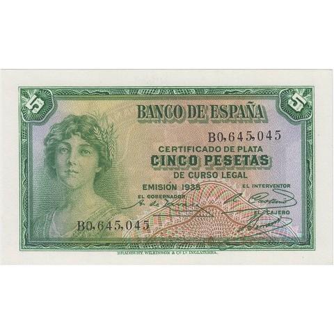 1935. 5 Ptas Certificado plata