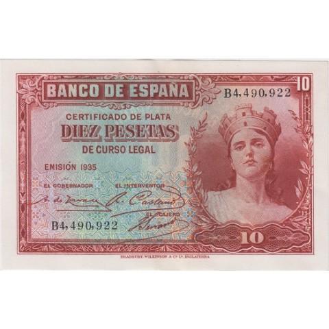 1935. 10 Ptas Certificado plata