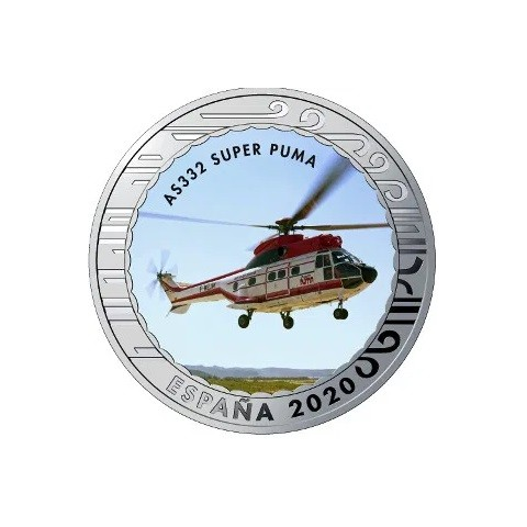"""2020. Aviación. 5 euros """"AS 332 Super Puma"""""""
