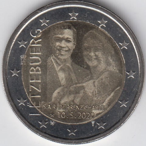 "2020. 2 Euros Luxemburgo ""Charles"" Gofrado"