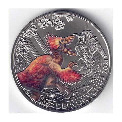2021. Moneda 3 euros Austria. Deinonychus