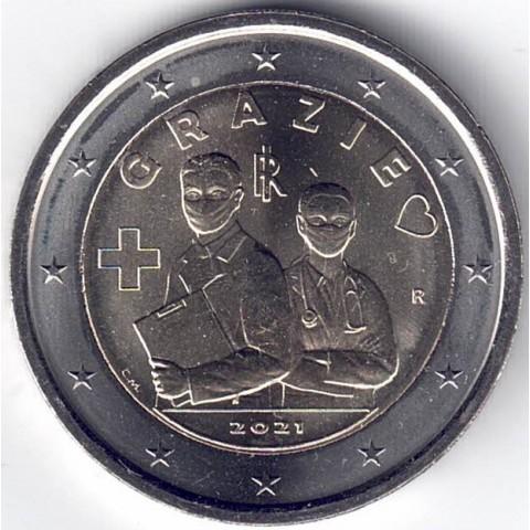 """2021. 2 Euros Italia """"Sanitarios"""""""