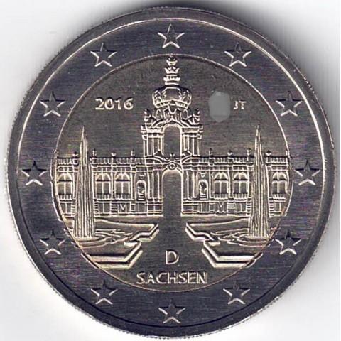 """2016. 2 Euros Alemania """"Sajonia"""""""