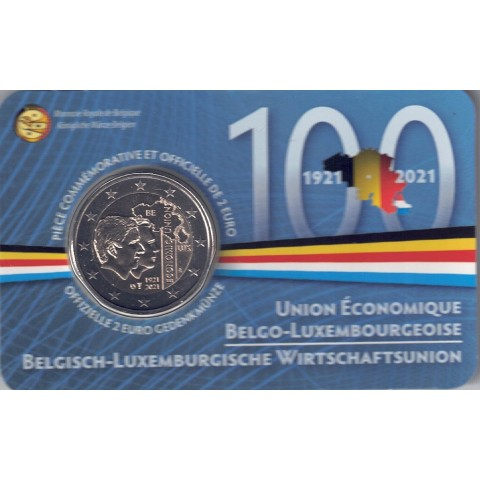 """2021. 2 Euros Belgica """"Unión económica"""""""
