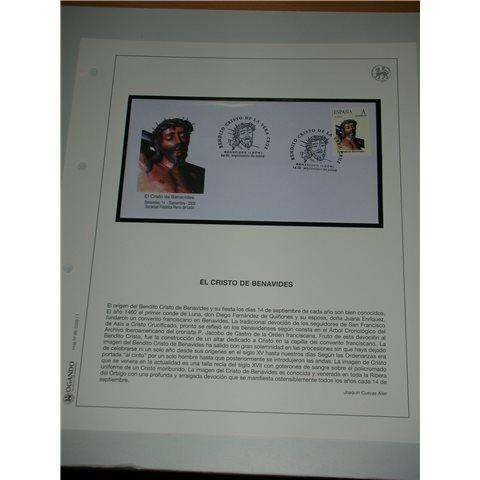 2009. Hoja y sobre matasellos Cristo Benavides