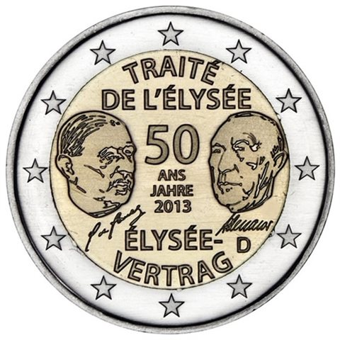 "2013. 2 Euros Alemania ""Tratado Eliseo"""