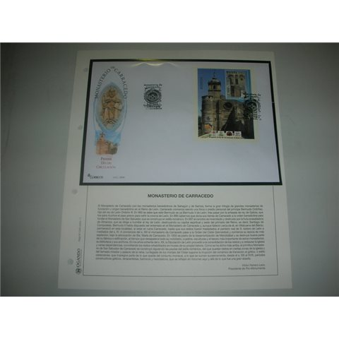 2004. Hoja y sobre matasellos Monasterio Carracedo