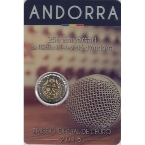 """2016. 2 Euros Andorra """"Televisión"""""""