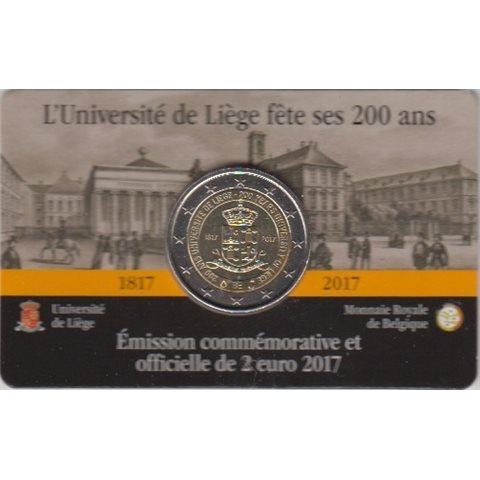 """2017. 2 Euros Bélgica """"Univ. Lieja"""""""
